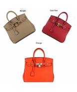 New 30cm Pebbled Leather Birkin Style Handbag Shoulder Bag Satchel Purse... - $149.99