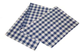 Cotton Table Runner Checkered Blue & White - $14.89