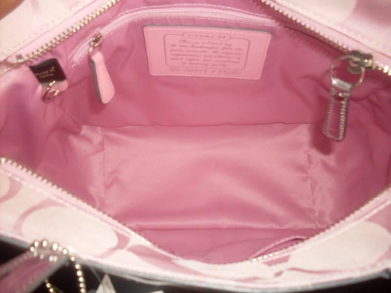 COACH Pink Signature Stripe Shoulder Tote NWT 13280