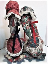 "2 Handcrafted Quilted Floral /Checked 17""TX14""LX7""D Geese with Hats Bows... - $9.90"