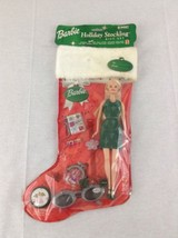 New Mattel Barbie Holiday Stocking Gift Set With Accessories Green Dress (2) - $13.09