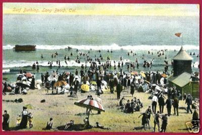 Primary image for LONG BEACH CALIFORNIA Surf Bathing Beach People CA