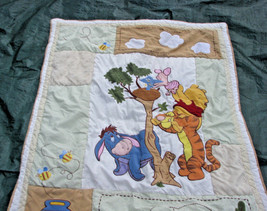 WINNIE THE POOH BABY INFANT NURSERY QUILT BLANKET CRIB THROW TREE BIRD P... - $35.63