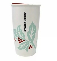 New Starbucks Holiday Mint Red Holly Berry Tumbler 12 Ounce Ceramic - $34.64