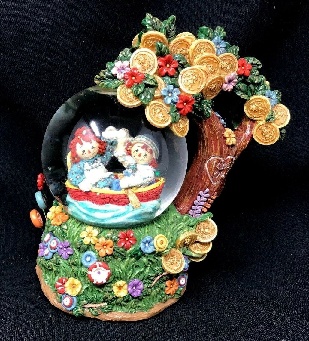 Primary image for San Francisco Music Box Company Raggedy Ann & Andy Water Snow Globe Vtg SWEET!