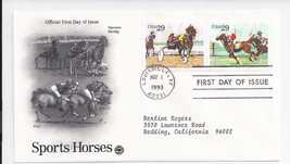 SPORTS HORSES 1993 First Day of Issue - $3.95