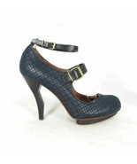 39 / 8.5 US - LANVIN Navy Textured Mary Jane Crooked Heel Unique Pumps 1... - $300.00