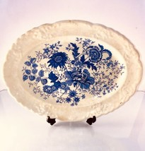 "VINTAGE TAYLOR SMITH & TAYLOR 11"" SERVING PLATTER Beautiful Blue Center ... - $22.00"