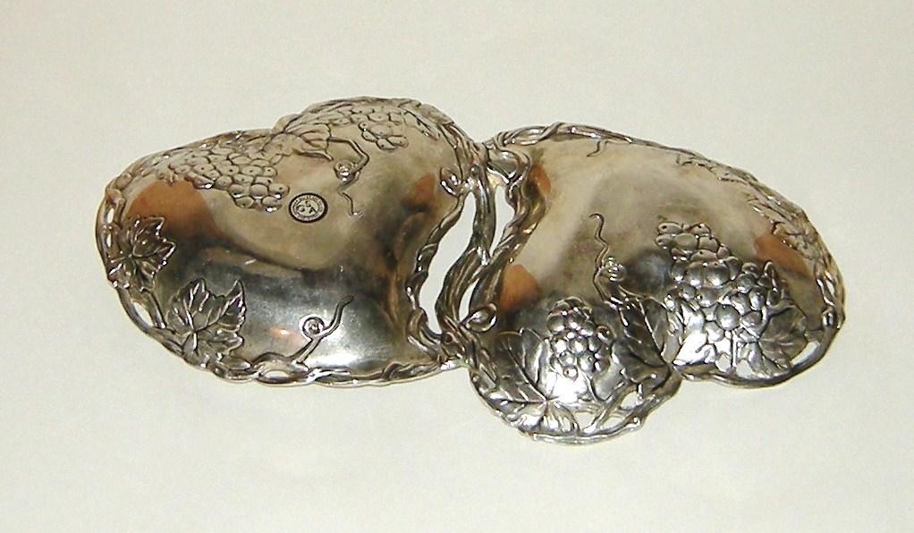Vintage Silver Plate Godinger Silver Art Co GSA Double Heart Grape Leaf Dish