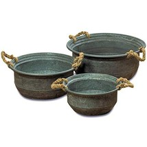 WHW Whole House Worlds Modern Farmhouse Chubby Bucket Planters, Set of 3... - $77.96