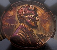 1942 PF63  RB LINCOLN WHEAT CENT/PROOF/TONED  *  005 - $63.70