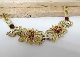 Vintage Red White Rhinestone Flower Link Bracelet BB21 image 2