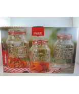 Coca-Cola Embossed Clear Glass 3 Pc Storage Jar Set Wire Bail Red Gasket... - $27.72