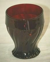 """Swirl Royal Ruby Drink Glass by Anchor Hocking 4"""" Flat Tumbler 10 oz Swi... - $16.82"""