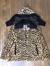 NWT JUICY Couture 14 years XL faux fur cape throw jacket poncho cheetah - $130.00