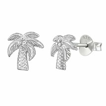 Sterling Silver Coconut Palm Tree Stud Earrings - $13.00
