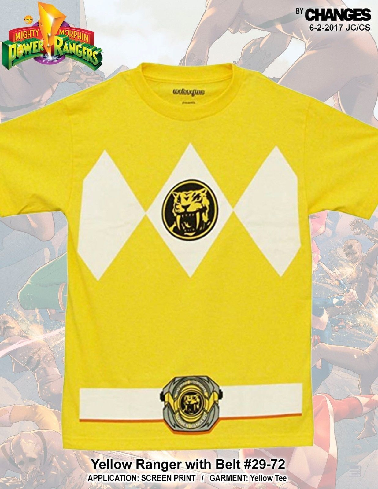 Power Rangers Amarillo Ranger Superhéroe Disfraz Halloween Camiseta
