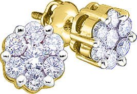 10kt Yellow Gold Womens Round Diamond Flower Cluster Earrings 1/4 Cttw - $199.99