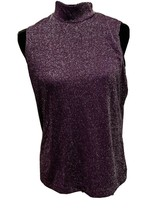 Karen Scott Purple sleeveless shirt ladies size medium chocker neck - $15.81
