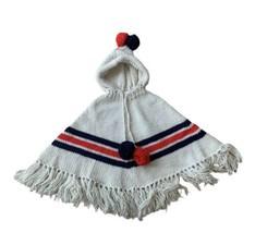 Handmade Knit Poncho with Hood and Fringe Vintage Retro Pom Pom Ties Mad... - $46.45