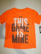 Under Armour Boys THIS GAME IS MINE Orange Glitch Heatgear T Shirt New S... - $14.84