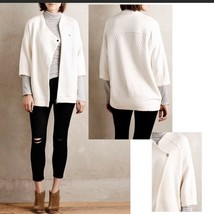 NEW Anthropologie Quilted Ivory Jacket by Bella Luxx Womens Size Extra S... - $54.45