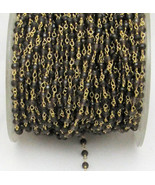 Natural Smoky Quartz 3-4 MM Rosary Beaded Gold Plated Chain For Jewelry - $15.32+