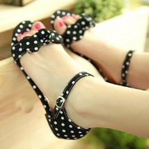 Sweet Polka Dot Bow shoes Gentlewomen Brief Hasp flat-bottomed Female Sandals