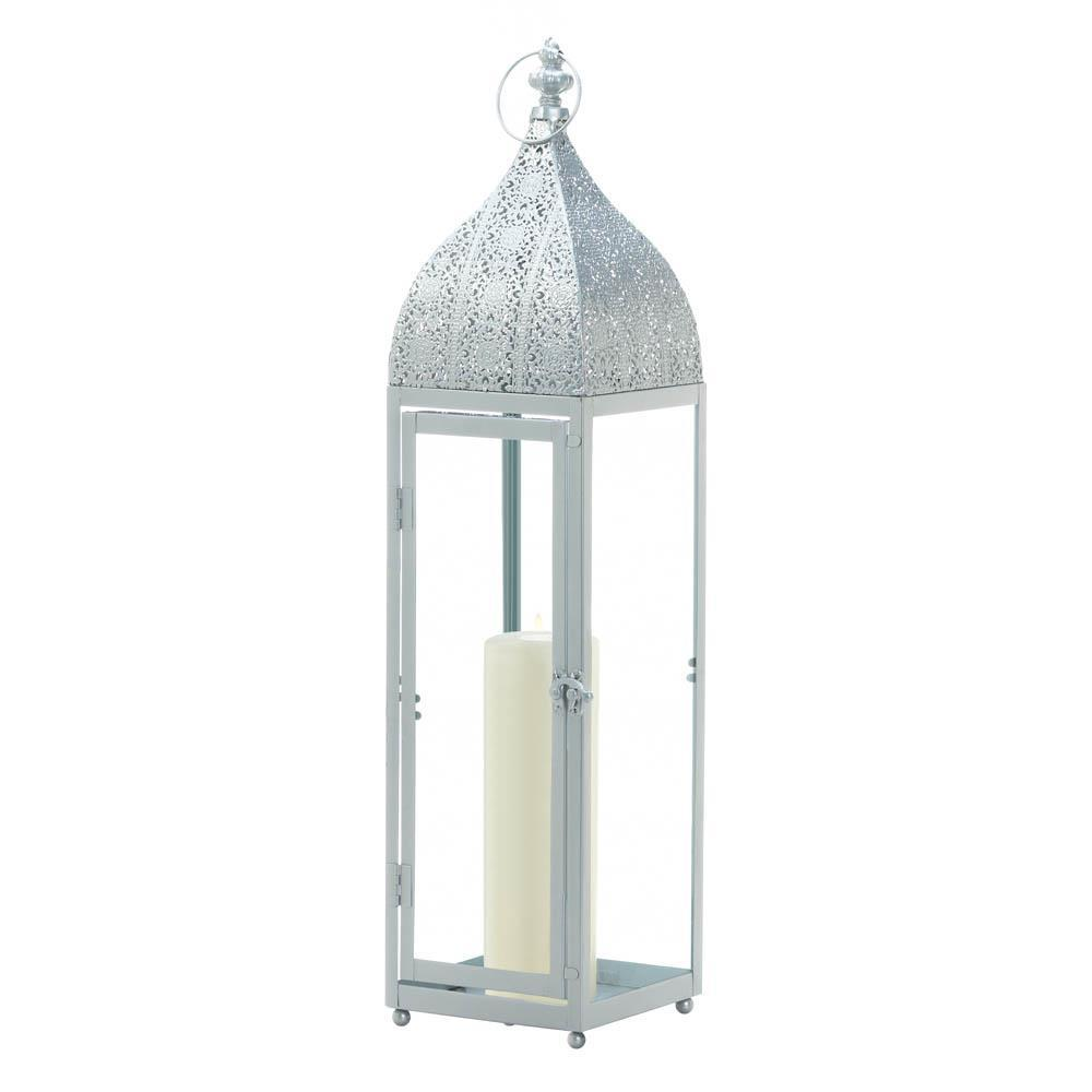2 Large Silver Moroccan Style Candle Lantern Intricate Design on Top 2 Feet Tall