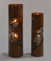 "Set of 2 Rustic Lantern Design Pillar Candle Holders 22.5"" high & 27.3"" high image 3"