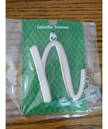 """Monogram Initial Large Letter """"N"""" 2020 Silver  Christmas Ornament by Gan... - $29.65"""