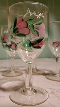 """Set of 4 Hand painted  5"""" Goblets Wine Glasses Flowers - $18.37"""