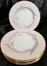Minton Malta Pink Set 6 Bread Plates Vintage Fine Bone China S676 Laurel Gold - $56.06