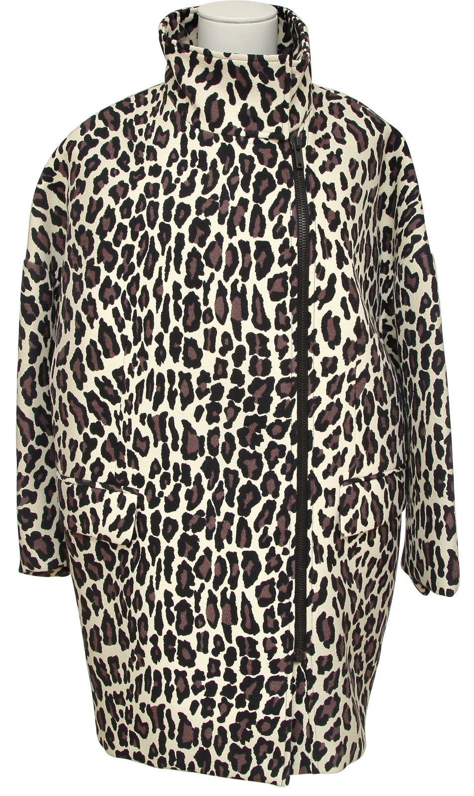 Primary image for MSGM Coat Jacket Knee Length Animal Print Wool Long Sleeve Zip Closure 40 BNWT