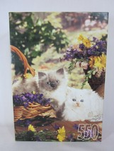 RoseArt 550 Piece Jigsaw Puzzle Kittens and Flower Baskets 1996 SEALED - $13.85