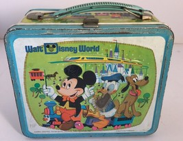 VINTAGE WALT DISNEY WORLD 70's METAL LUNCH BOX WITH THERMOS MICKEY MOUSE - $24.30