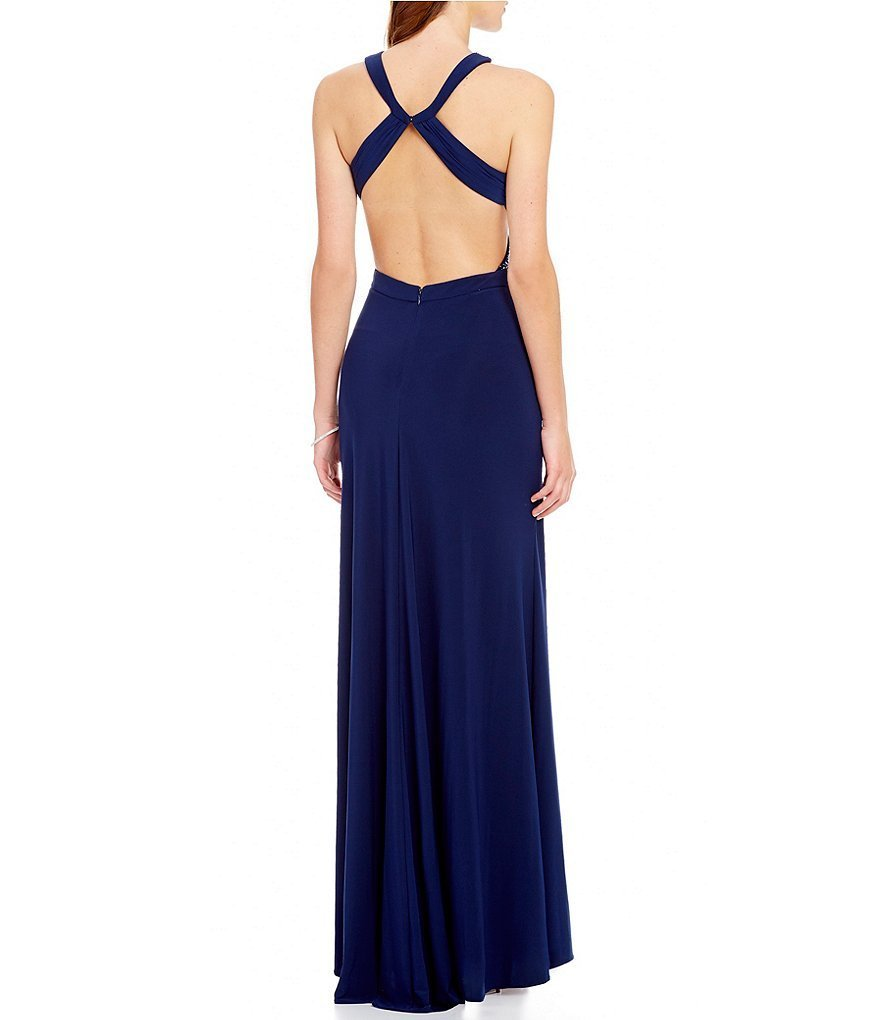 Women's Long Sexy Evening Dress Royal Blue Prom Dress Cheap Formal Party Dresses