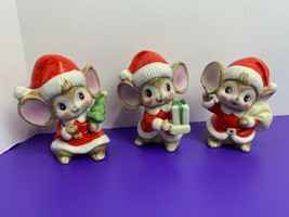 3 Vintage Christmas Brown Mice Dressed as Santa HOMCO Porcelain #5405 Pre Owned - $19.79