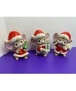 3 Vintage Christmas Brown Mice Dressed as Santa HOMCO Porcelain #5405 Pr... - $19.79