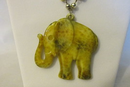 Vintage Elephant Pendant Necklace - Marbled Lucite, Silver Toned Chain, ... - $9.99