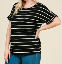 Black Striped Plus Top, Striped Womens Plus Top, Relaxed,Classic, Black White image 2