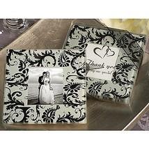 BST Wedding Favors Photo Coaster Favor With Black Damask Design (Set of 2) - $9.69