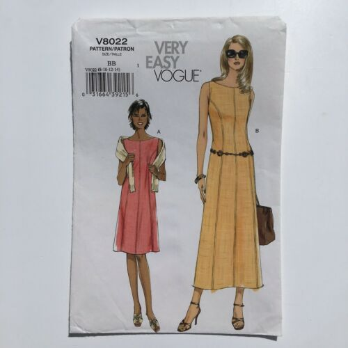Primary image for Vogue 8022 Sleeveless Princess Seam A-Line Dress Misses 8-14 Uncut Pattern FF