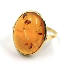 SOLID 18K YELLOW GOLD RING, BIG CABOCHON CENTRAL NATURAL OVAL AMBER 21X16mm image 1