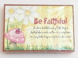 Be Faithful ~Wooden Religious Sign Gift Magnet~ Flowers Ladybug Mushroom... - $13.81