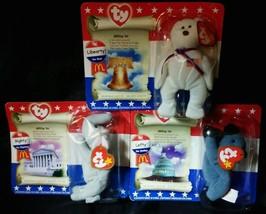 Ty Beanie Babies American Trio Libearty (Bear) Righty (Elephant) Lefty (Donkey)  - $10.18