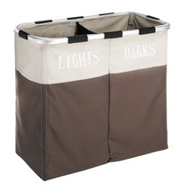 Double Laundry Storage Basket Hamper Washing Clothes Bin Foldable Sorter... - $18.45