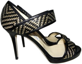 $995 Jimmy Choo Black Alana Woven Leather Sandals Pump Gold Black Heel S... - $451.00