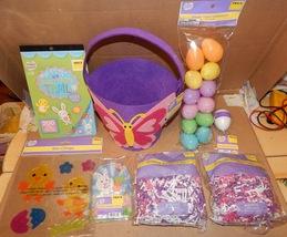 Easter Mix Lot 8 Items Basket Gel Clings Paper Grass Stickers Eggs Pin Game 162L - $12.49