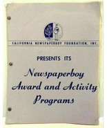 1950 California Newspaperboy Foundation Award and Activity Programs Lite... - $59.99